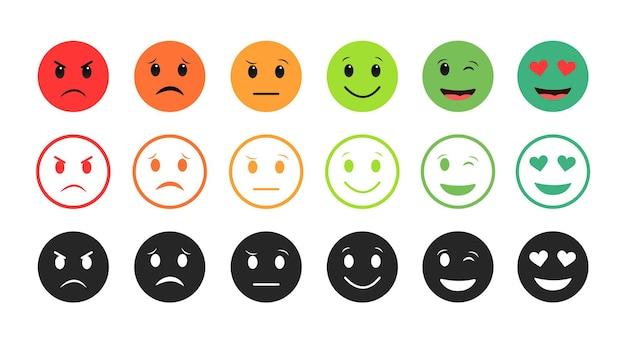 Ikony emotikonów, nastrój jest od złego do dobrego.