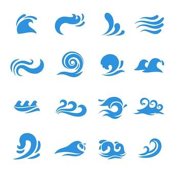 Ikony fal. element morza wody, krzywej cieczy oceanu, płynąca burza wirowa, ilustracji wektorowych