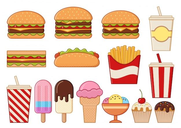 Ikony fast food na białym tle. . ustaw niezdrowy posiłek. liniowe przekąski restauracyjne w mieszkaniu. śmieci kolorowe elementy do gotowania. burger, hot dog, frytki i kanapka.