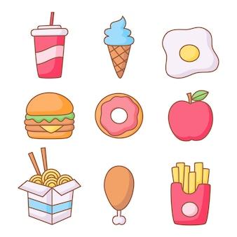 Ikony fast food zestaw stylu cartoon na białym tle.