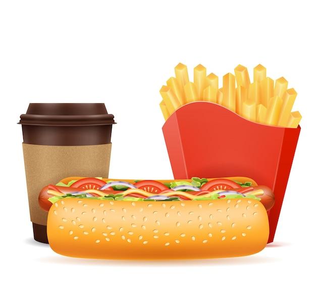 Ikony fast foodów hot dog kawa frytki na białym