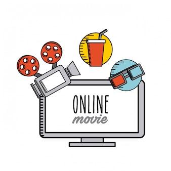 Ikony filmów płaskich linii online