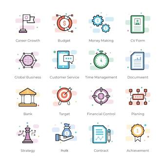 Ikony finansowania społecznościowego i biznesowego