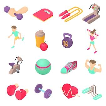 Ikony fitness w izometryczny styl 3d