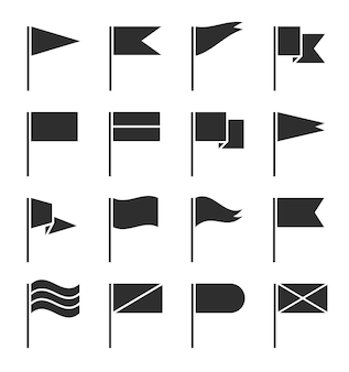 Ikony flag. macha proporzec, banery flagi czarna sylwetka.