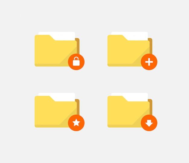 Ikony folderów streszczenie płaski