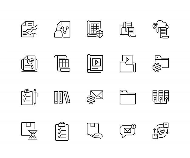 Ikony folderów. zestaw dwudziestu linii ikon. przechowywanie danych, wymiana, plik.