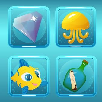 Ikony gier dla nautical match three game lub app