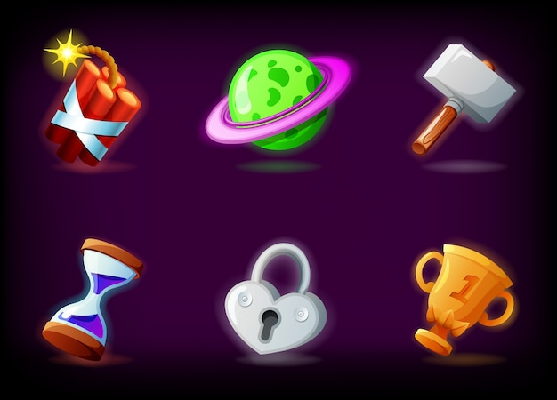 Ikony gier wideo gui na ciemnym tle. pakiet aplikacji do gier mobilnych w stylu kreskówki
