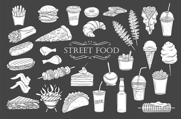 Ikony glifów żywności ulicznej. białe na czarno na białym tle sylwetki żywności na wynos, ilustracja do menu kawiarni w stylu retro.