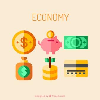 Ikony gospodarcze w zielonym i żółtym