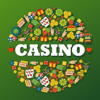 Ikony hazardu w kasynie w okrągłym składzie ramka dekoracyjna do kasyna