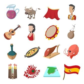 Ikony hiszpanii w stylu kreskówki dla sieci i urządzeń mobilnych