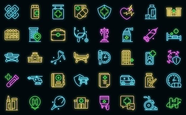 Ikony hospitalizacji wektor zestaw neon