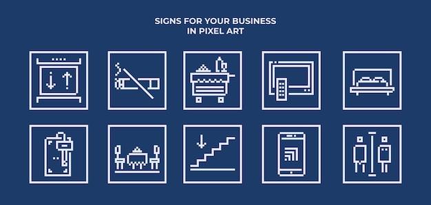 Ikony hotelowe ustawione w grafice pikselowej