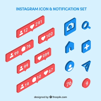 Ikony i powiadomienia z instagramów ustawione w stylu izometrycznym