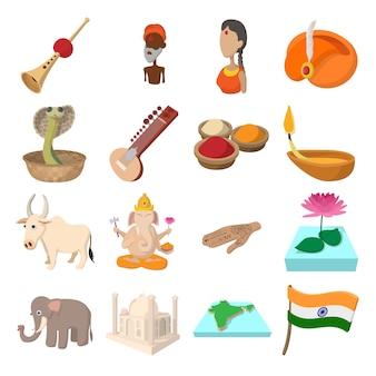 Ikony indii w stylu kreskówki dla sieci i urządzeń mobilnych
