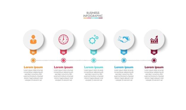 Ikony infographic osi czasu wizualizacji danych biznesowych zaprojektowane dla szablonu abstrakcyjnego tła