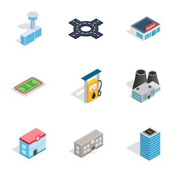 Ikony infrastruktury miejskiej, izometryczny styl 3d