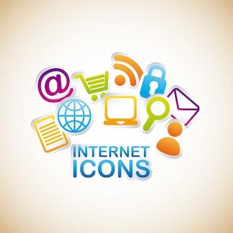 Ikony internet na kremową tle ilustracji wektorowych
