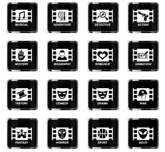 Ikony internetowe gatunku kina do projektowania interfejsu użytkownika