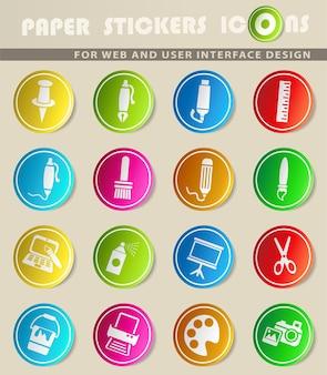Ikony internetowe narzędzi artystycznych do projektowania interfejsu użytkownika