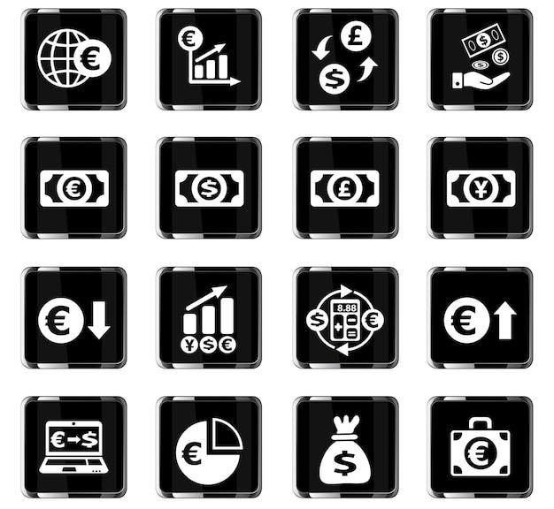 Ikony internetowe wymiany walut do projektowania interfejsu użytkownika