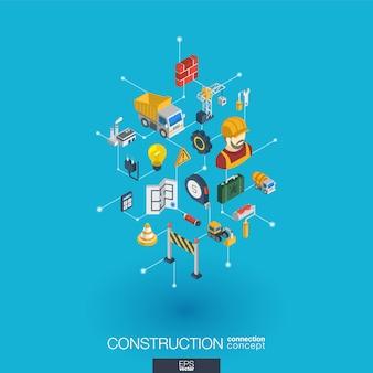 Ikony internetowe zintegrowane z konstrukcją. koncepcja interakcji izometrycznej sieci cyfrowej. połączony graficzny system kropkowo-liniowy. streszczenie tło dla inżyniera, architektury, kompilacji. infograf