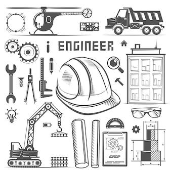 Ikony inżynier rysunek styl sztuki. ilustracja wektorowa