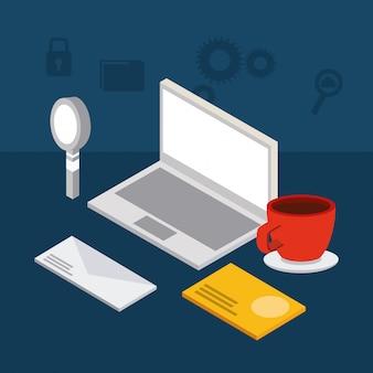 Ikony izometryczne laptopa