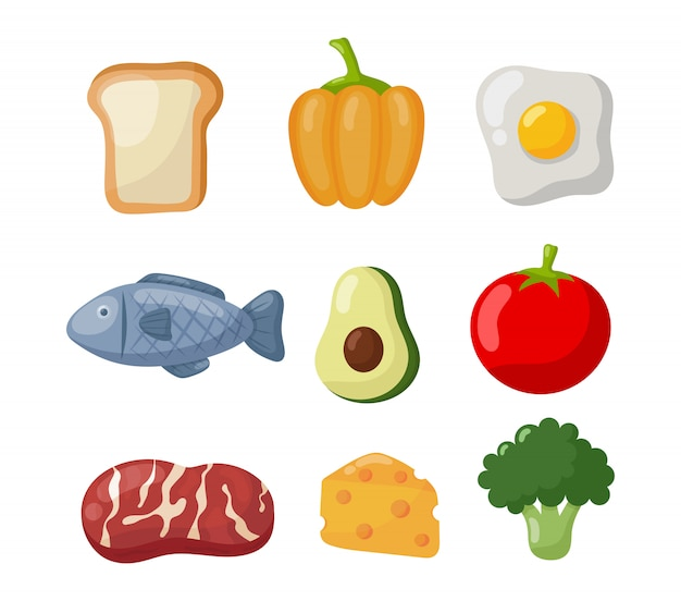 Ikony Jedzenie Spożywcze Premium Wektorów