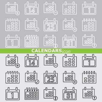 Ikony kalendarzy. zestaw liniowy.