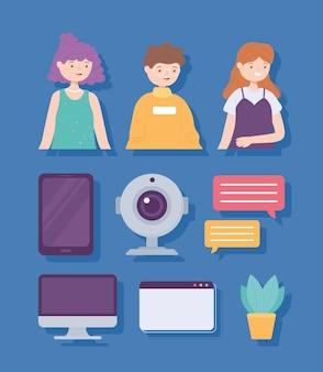 Ikony kamer internetowych dla ludzi