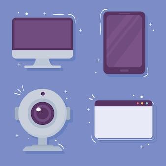 Ikony kamery internetowej i gadżetów