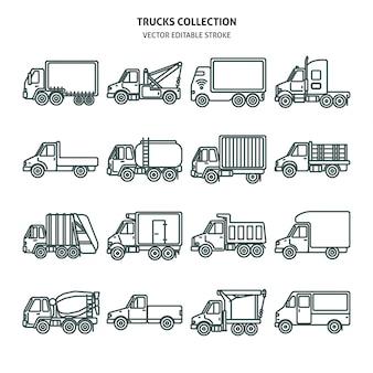 Ikony kart samochodów ciężarowych w stylu cienkich linii