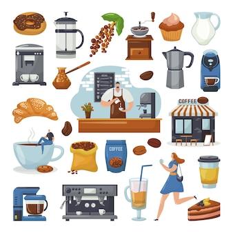 Ikony kawiarni i ekspres do kawy, ekspres do kawy, barista, elementy kubka do kawiarni, zestaw ilustracji. ciasto, kawa, cappuccino lub latte, mokka, młynek do kawy.