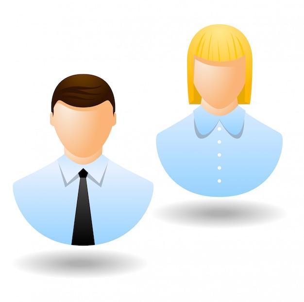 Ikony kierownika biura lub awatar na białym tle