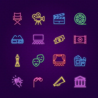 Ikony kina. neonowe kolorowe elementy rozrywkowe.