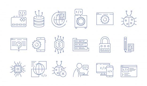 Ikony kodera. programista programista dane wejściowe ekspertów wykonuje błędy klastrowe naprawia systemy testowe symbole kodu java