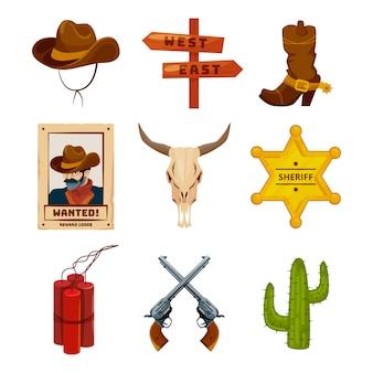 Ikony kolekcji wild west. zachodnie ilustracje w stylu kreskówki. buty, pistolety, kaktus i czaszka