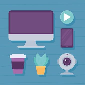 Ikony komputera z kamerą internetową