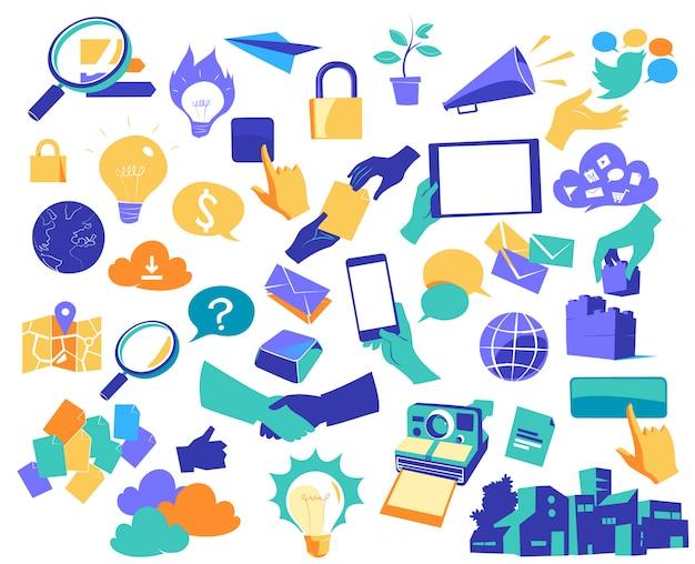 Ikony komunikacji i innowacji cyfrowych