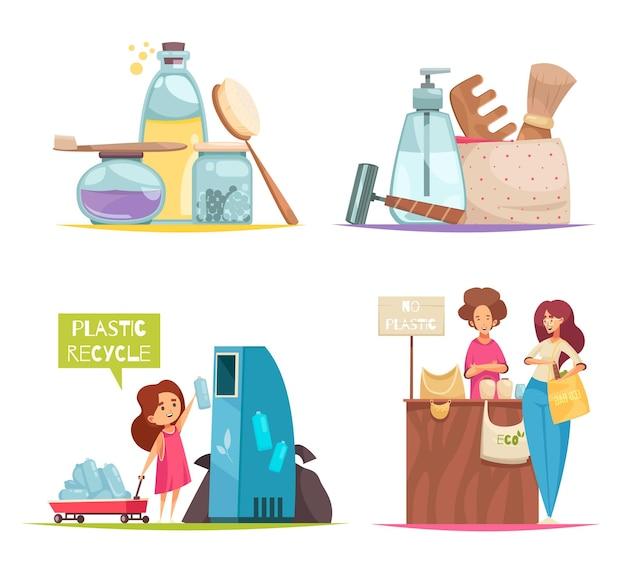 Ikony koncepcja sortowania odpadów zestaw z plastikowymi symbolami recyklingu płasko na białym tle