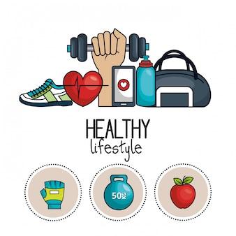 Ikony koncepcja zdrowego stylu życia sport design