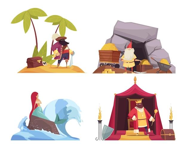 Ikony koncepcji postaci z bajek zestaw z płaską ilustracją pirata i syrenki