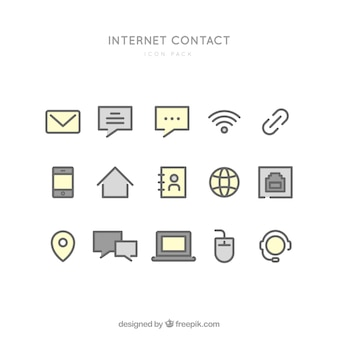 Ikony kontaktu internetowe