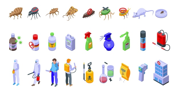Ikony kontroli chemicznej zestaw izometryczny wektor. test jakości. unikaj bezpieczeństwa