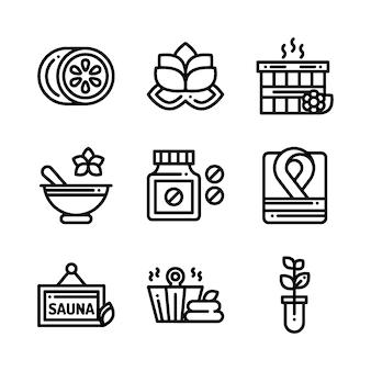 Ikony kosmetyki masaż masaż spa. ilustracja.