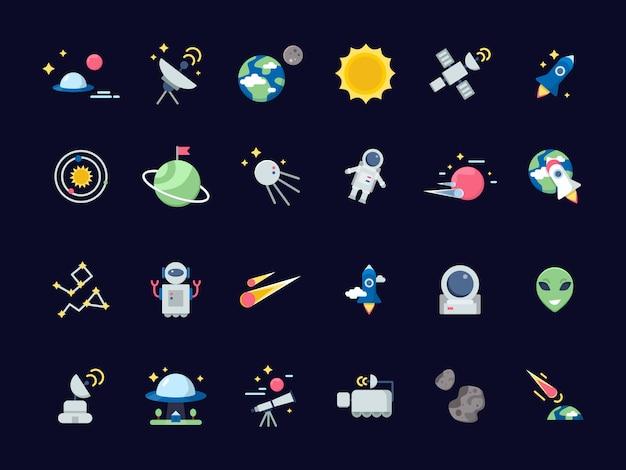Ikony kosmiczne. ziemski księżyc ze słońcem i satelitami widoki asteroid z ikon kosmicznych teleskopu w stylu płaskiej