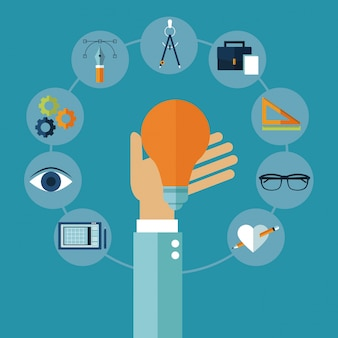 Ikony kreatywnych pomysłów multimedialnych